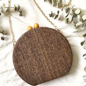 NWT Round Woven Basket Clutch BROWN